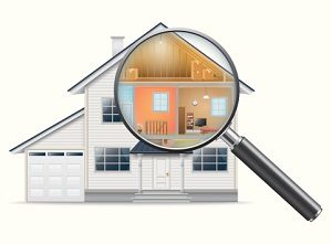 Magnifying glass examining house.