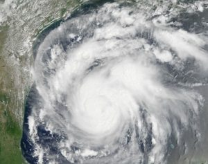 Satellite image of Hurricane Harvey off the coast.