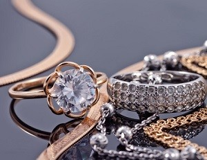 Precious jewelry of rings and bracelets.