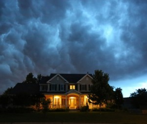 House in bad summer thunderstorm