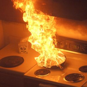 Kitchen grease fire from unattended pan.