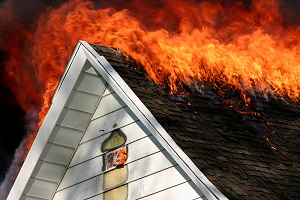Fire on the roof of a home