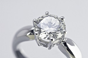 An engagement ring on a silver band