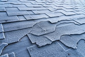 Damp, broken shingles on roof in need of replacement