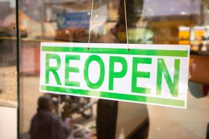 A store reopening for business after quarantine.