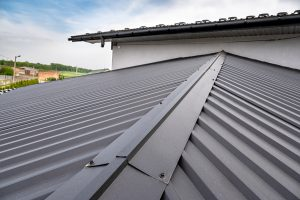 A closeup of a gray metal roof